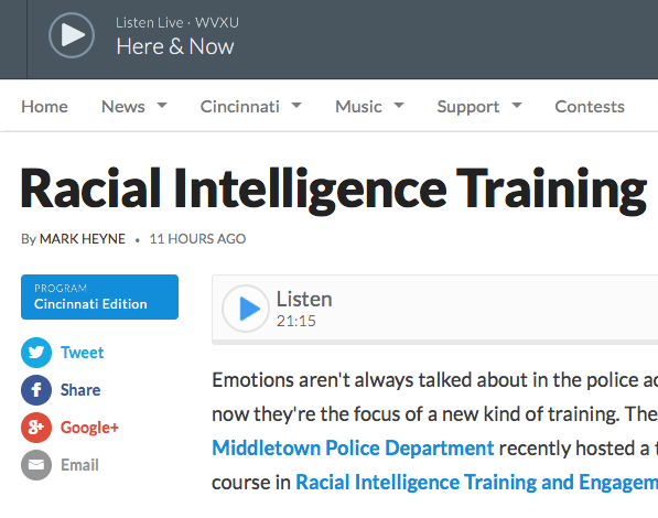 Racial Intelligence Training For Local Police – WVXU Radio Interview