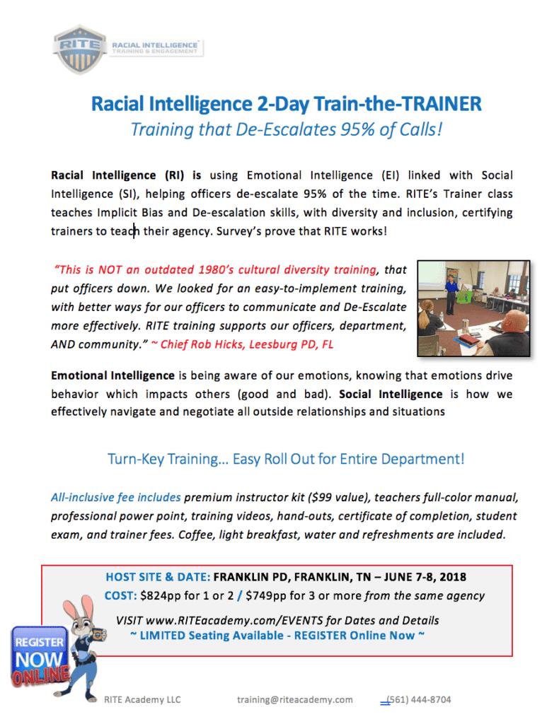 Racial Intelligence 2-Day TRAINER: JUN 7-8, 2018 (Franklin, TN
