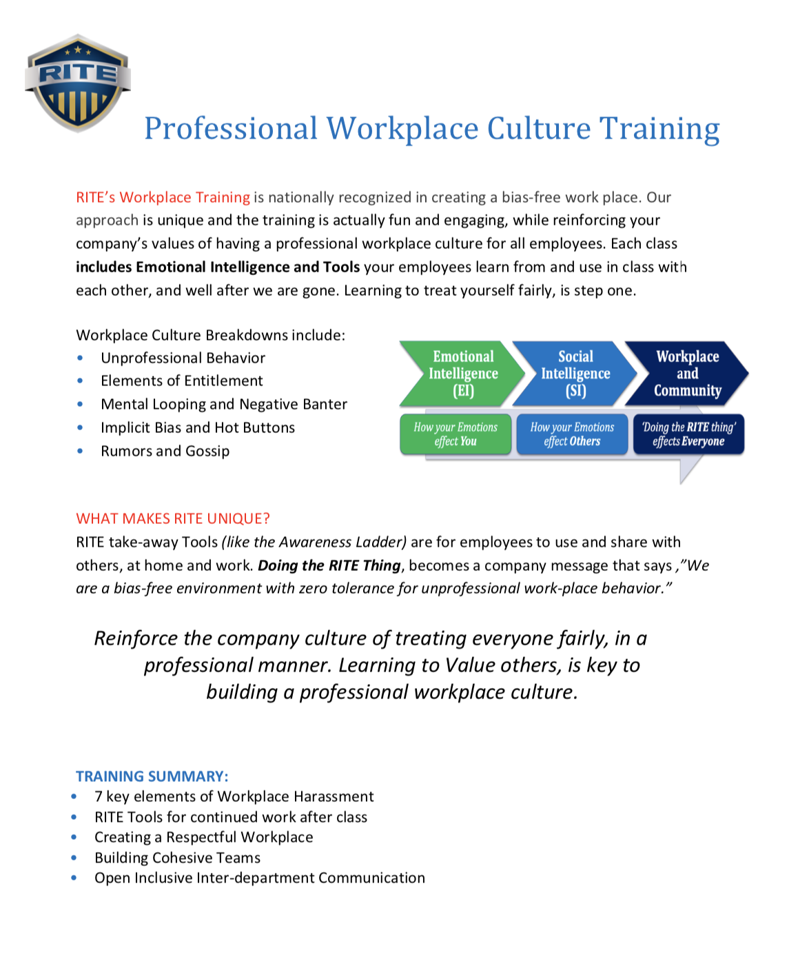 RITE flier workplace culture training