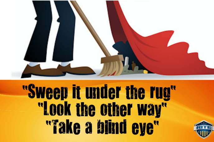 take a blind eye_brush under rug